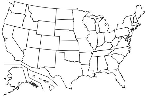 blank map of america with borders blank usa map for labeling