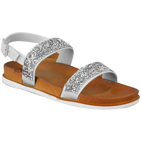 flat comfy shoes womens diamante summer flat sandals ankle strappy