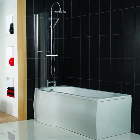 shower ideas for bathrooms p shaped shower bath from plumb shower baths