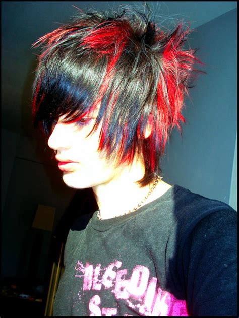 emo hairstyles red and black red and black emo hair for guys