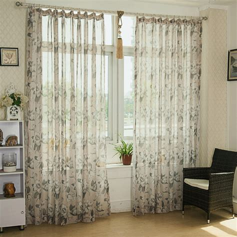 print sheer curtains vintage living room decoration with cheap floral country
