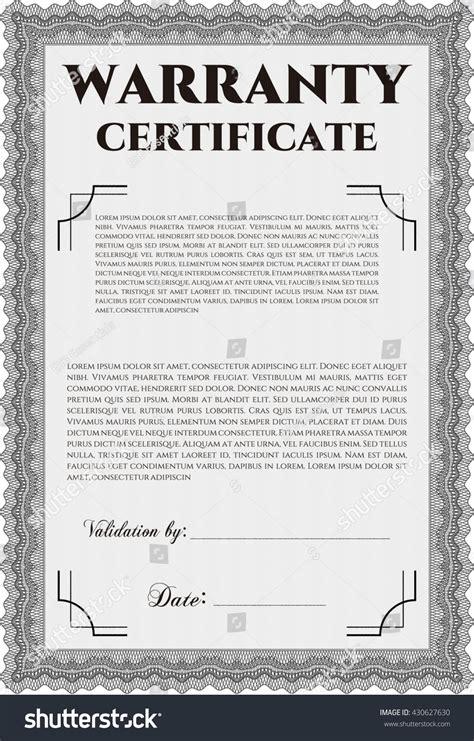 design warranty certificate sle warranty certificate vector illustration artistry