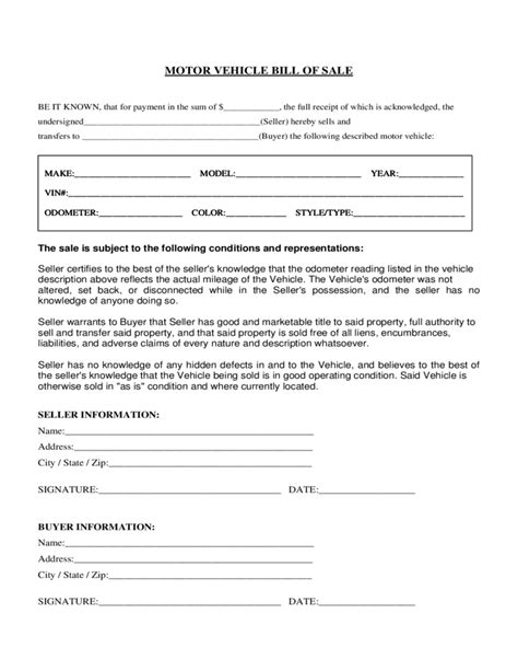 Motor Vehicle Bill Of Sale Form Florida Free Download Florida Motor Vehicle Bill Of Sale Template