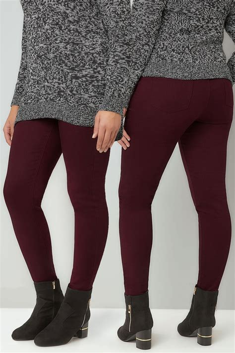 Jegging Stretch By Conba Id wine pull on stretch jeggings plus size 16 to 36