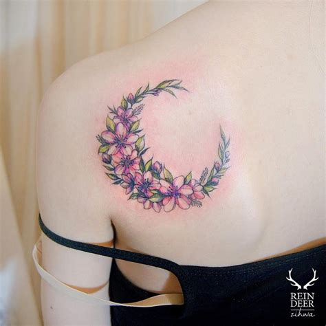 flower moon tattoo 105 sensational watercolor flower tattoos page 3 of 11
