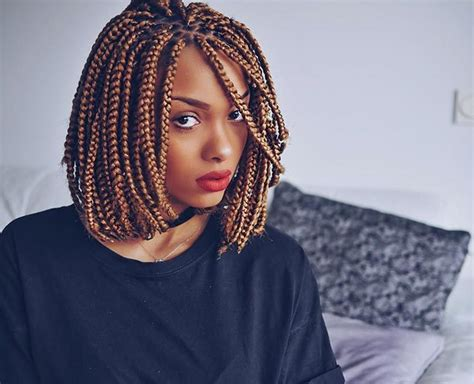 gold on top red on bottom box braids 19 lively short box braid styles for any woman hairstylec