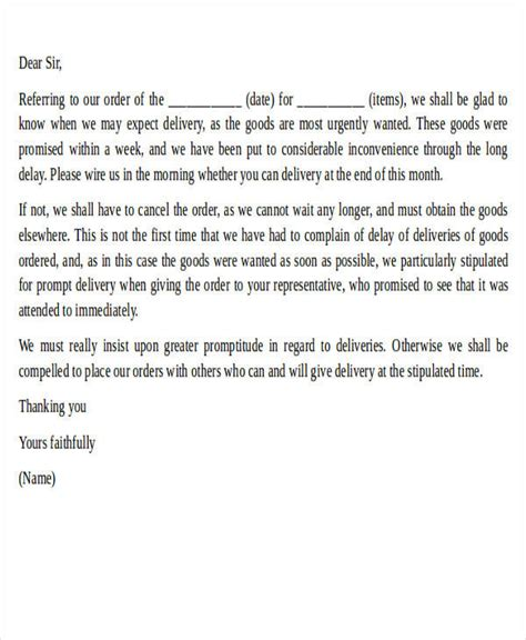 Complaint Letter For Delay In Delivery complaint letter exle