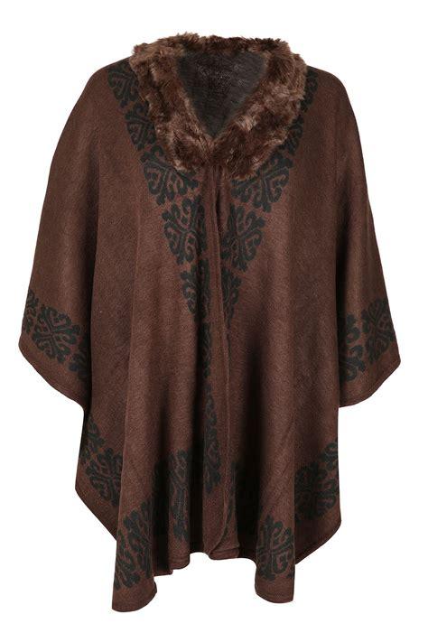 Bj 0788 Simple Casual Blouse faux fur poncho cape shawl stole wrap coat uk 10 20