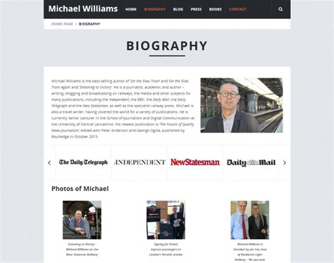 website biography ideas web design for writer michael williams primary image