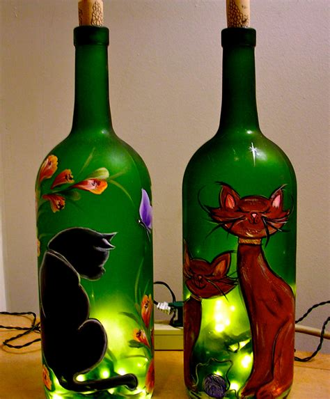 lighted wine bottle hand painted cat decorative l