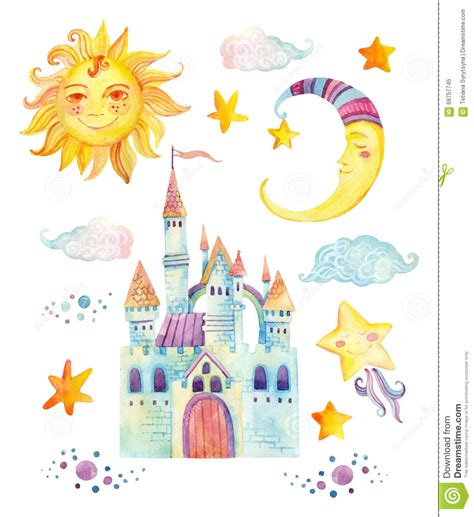 libro the moonshine dragon little fairy tale castle with clouds royalty free cartoon cartoondealer com 9324395