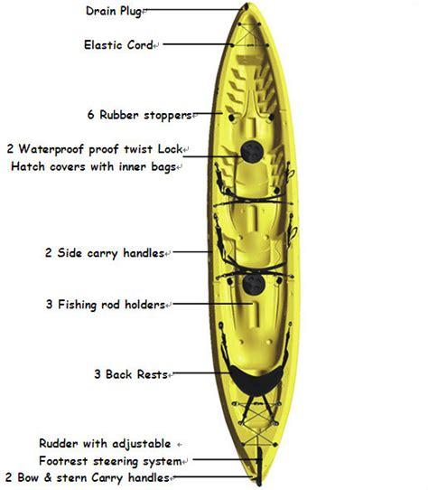 3 seat kayak sit on top fishing kayak with big capacity