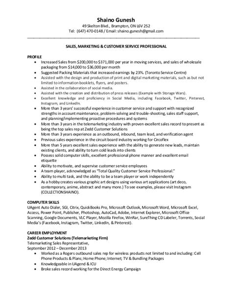 Resume Sles Telemarketing Sales Representative Telemarketing Sales Resume