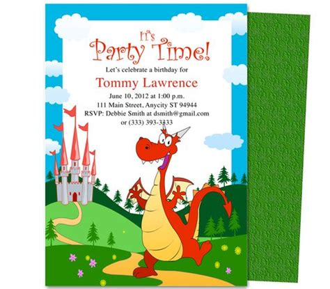 printable birthday invitations dragons kids party pete the friendly dragon kids birthday party