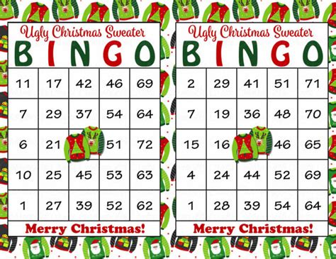 free printable christmas bingo cards with numbers 30 ugly christmas sweater bingo cards diy printable game
