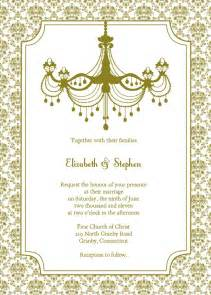 vintage chandelier wedding invitation template free