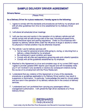 service delivery agreement template courier driver contract template fill printable