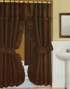 swag shower curtain with liner set chocolate 70x72