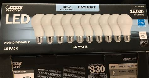 Led Light Bulbs Costco Feit Electric Led 60 Watt Replacement Daylight Bulbs 10 Pack Costco Weekender