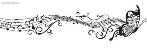 black and white buttefly music notes facebook cover