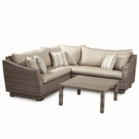 gray patio furniture rst brands 4 cannes sectional and conversation table patio furniture set slate gray sac