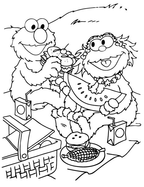 zoe and elmo spring picnic coloring page h m coloring