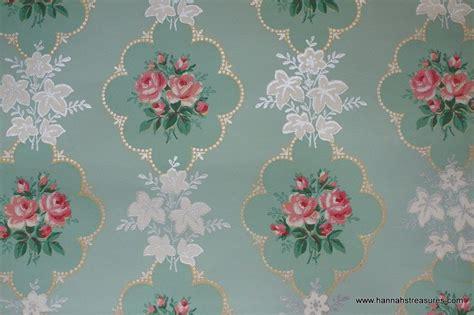 wallpaper pink mint 1940 s pink rose vintage wallpaper on mint green