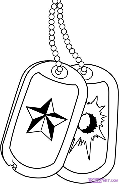 dog tag coloring page how to draw military dog tags step by step symbols pop