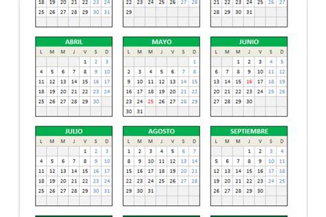 Calendario 2016 Peru Calendario 2016 En Excel Planillaexcel
