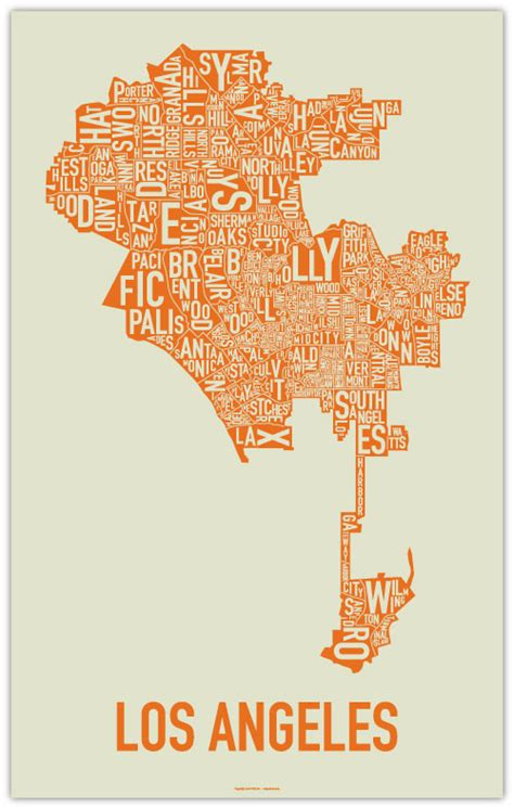 map of los angeles poster a typographic map of the 6 738 neighborhoods of la