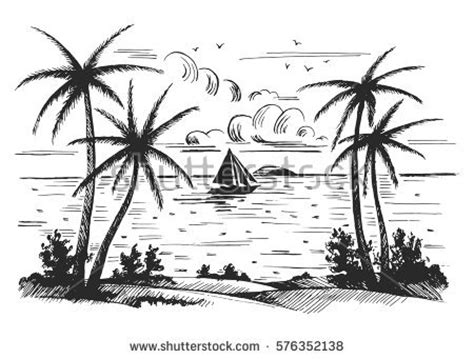 boat journey drawing seashore beach palm trees seagulls sailing stock vector