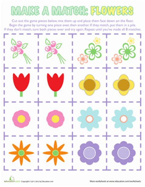 printable games about flowers flower matching game worksheet education com