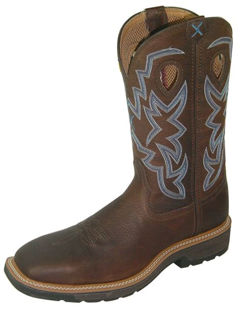 twisted x work boots mens western steel toe brown pebble