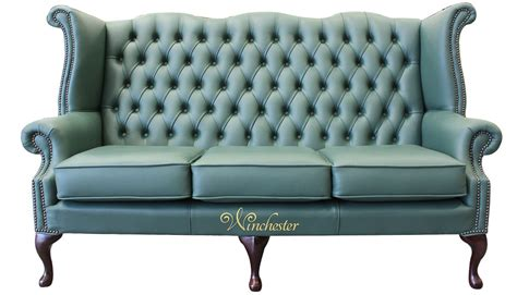 chesterfield high back sofa chesterfield 3 seater queen anne high back wing sofa jade
