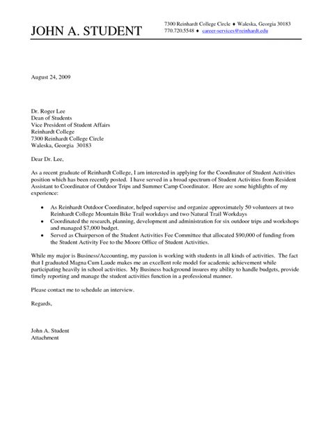 cover letter from college graduate college student cover letter sle cover letter for
