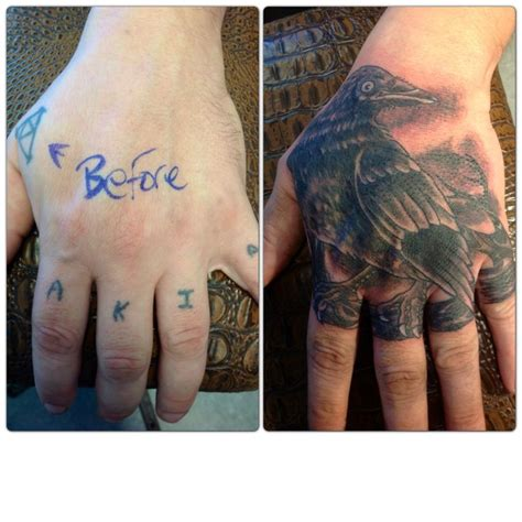 tattoo cover up on hand hand finger tattoo coverup crow raven tattoo coverup