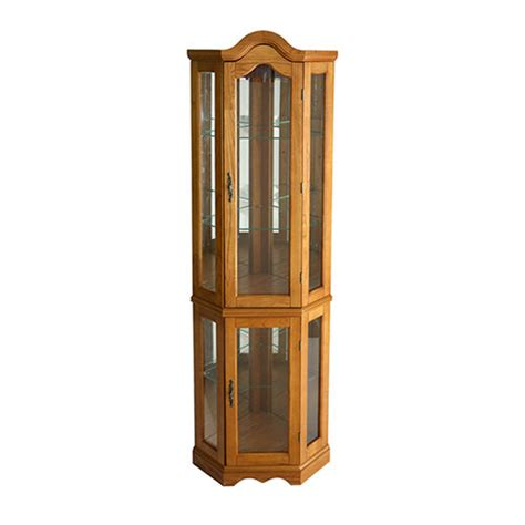 southern enterprises lighted corner curio cabinet in rich mahogany finish southern enterprises lighted corner curio cabinet boscov s