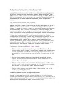 Cover Letter Criteria by Selection Criteria Exles