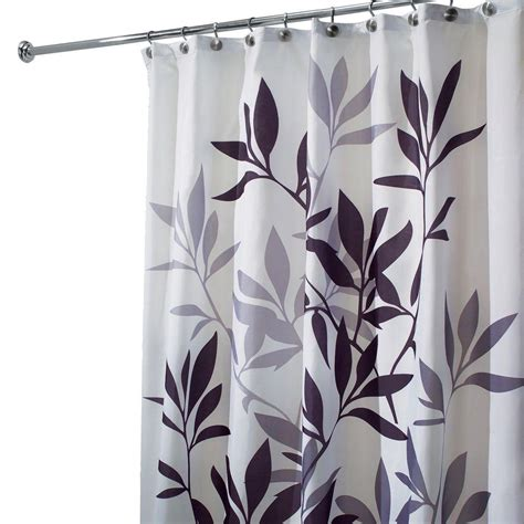 Gray And Black Shower Curtains Interdesign Leaves Shower Curtain In Black And Gray 35620 The Home Depot