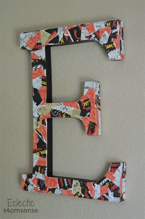 How To Decoupage Cardboard Letters - mickey decoupage letter eclectic momsense