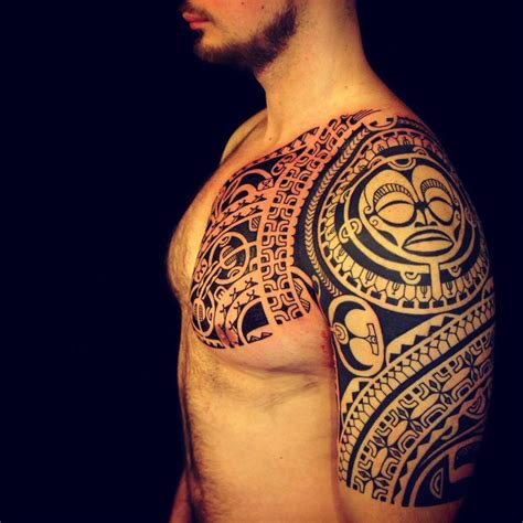 tattoo chest and sleeve polynesian tribal chest and sleeve tattoo tattoo ideas