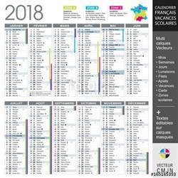 Calendrier 2018 Vectoriel Gratuit Quot Calendrier Fran 231 Ais 2018 Avec Vacances Scolaires Et Zones