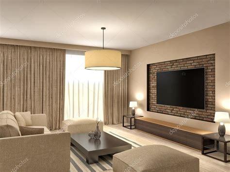 Brown Modern Family Room Living Moderne Bruin Woonkamer Interieur Design 3d Illustratie