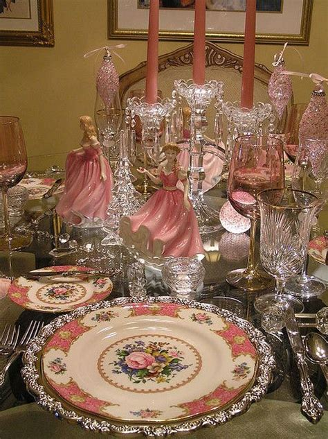 christmas pink table setting christmas decorations