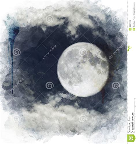 Wall Stickers Clouds watercolor image of full moon stock illustration