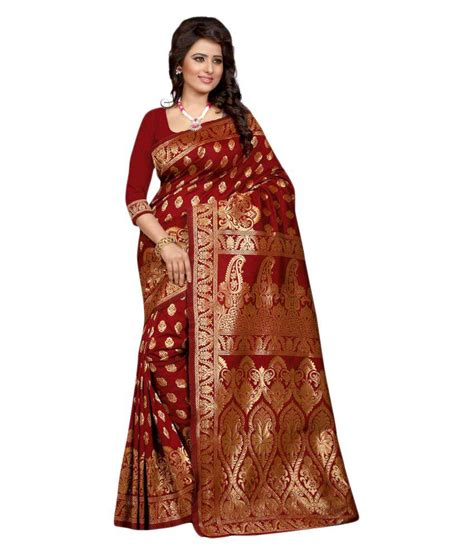 Fashion Maroon flute fashion maroon banarasi silk saree buy flute