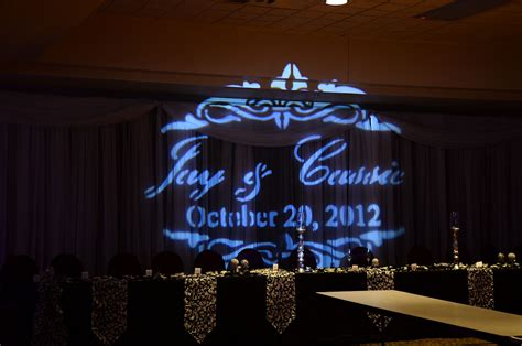 Wedding Backdrop Graphic by And Groom S Name And Date Projected On A Wedding