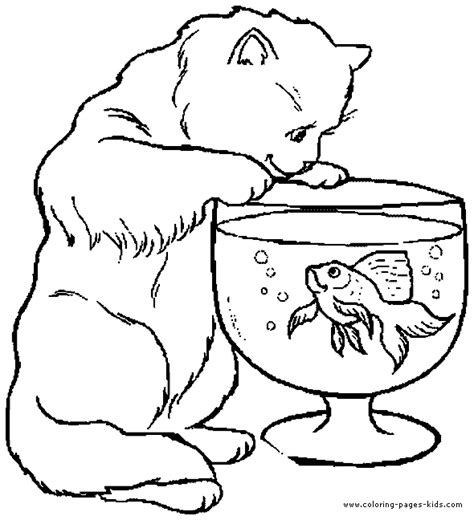 cat coloring pages online free cat looking at a fish color page free printable coloring