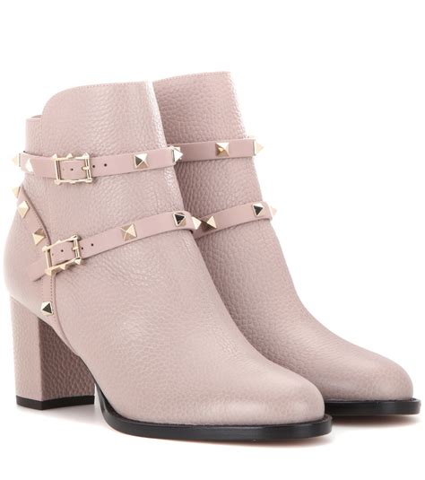 valentino rockstud leather ankle boots in pink lyst
