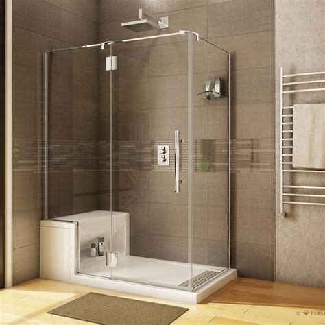 fleurco shower door platinum 2 sided w alessa seat